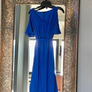 Ann Taylor cold shoulder blue dress size 4